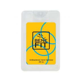 Clear hand sanitizer card with an imprint of a yellow background with blue circles and text saying benefit