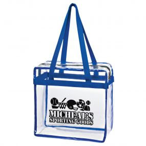 custom clear tote bag with blue trim, top zippered compartment, and an imprint saying micheal's sporting goods
