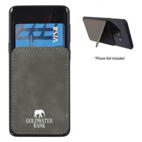 personalized gray kickstand phone wallet with silk-screen design