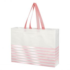 Custom Pink Striped Gusset Tote Bag