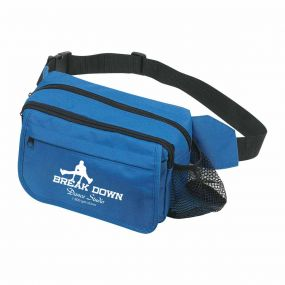 personalized blue fanny pack with three zippered compartments, side mesh pockets, and an imprint saying break down dance studio