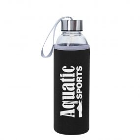 personalized glass bottle with black and gray Neoprene Sleeve and gray easy carry strap on top of silver lid