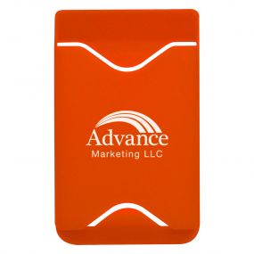 personalized orange phone wallet with silk-screen design