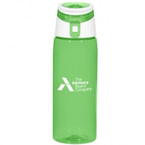 personalized green plastic bottle with white and green lid
