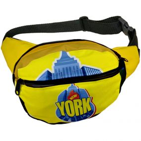 full color fanny pack with an adjustable waist strap and 2 zippers