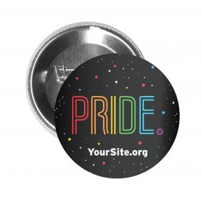 Gay Pride Neon Button Pin