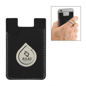 personalized black phone wallet with phone ring and stand