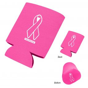 Pink Ribbon Breast Cancer Awareness 3 Imprint Koozie Can Cooler