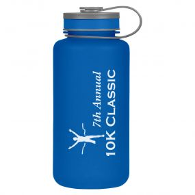 blue plastic bottle with gray lid