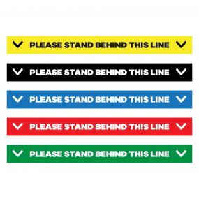 "Please Stand Behind This Line Floor Decal - 24"" X 4"""