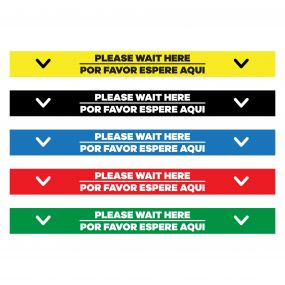 "Please Wait Here English/Spanish Floor Decal - 24"" X 4"""