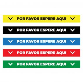 "Por Favor Espere Aqui Floor Decal - 24"" X 4"""