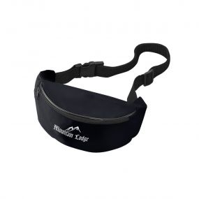 personalized black fanny pack with zippered compartment and an imprint saying mountain lodge