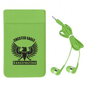 personalized green phone wallet with matching earbuds