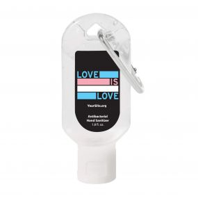 Trans Love Is Love Hand Sanitizer Carabiner - 1.8 oz