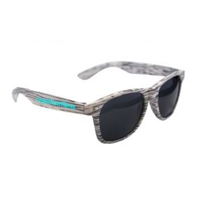 white wood tone sunglasses with an imprint saying cognitive films