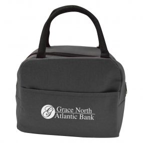 gray lunch bag with a black handle, front pocket, top zippered compartment, and an imprint saying Grace North Atlantic Bank