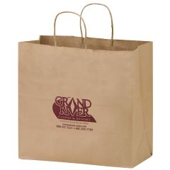brown kraft paper handout bag with a brown imprint saying grand river casino & resort and standing rock sioux tribe with contact information below it