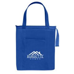 insulated blue tote bag with a front pocket and a top zippered compartment with an imprint on the front of the bag saying burdette homes
