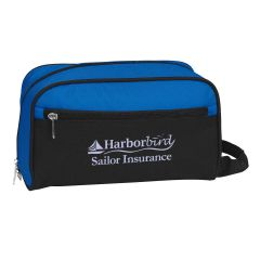 blue toiletry bag with front zipper and zippered main compartment