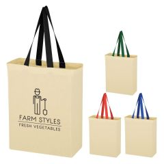 Colored Handle Cotton Tote Bag