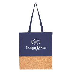 personalized tote bag with cork bottom and carrying handles