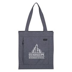 gray tote bag with front zippered pocket, pen slot, and carrying handles