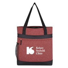 personalized cotton tote bag with front hidden pocket, side mesh pocket, and carrying handles
