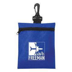 personalized carrying pouch with swivel clip and zippered main compartment