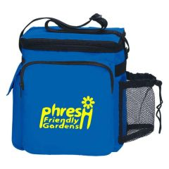lunch bag with adjustable strap, two zippers, and side mesh pocket