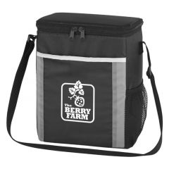 two-tone lunch bag with carrying strap and mesh pocket