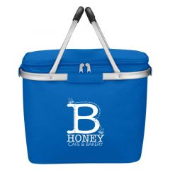 cooler bag with picnic handles and zippered compartment