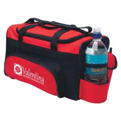 cooler bag with carrying handles, mesh pockets, and multi-compartments