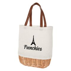 personalized cotton tote bag with leatherette handles and bottom wicker material