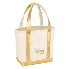 personalized gold and natural cotton tote bag with front pocket and an imprint saying lakeview avenue spa resort