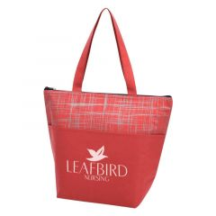 tote cooler bag with carrying handle and zipper
