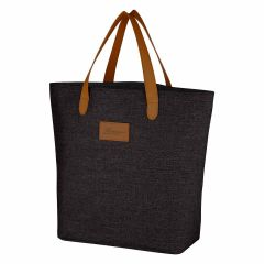 black cotton tote bag with leatherette handles, leatherette front patch, and inside zippered pocket