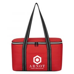 cooler bag with carrying handle and main zipper compartment