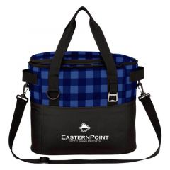 checker cooler bag with carrying handle and detachable strap