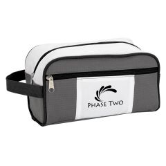gray and white toiletry bag with side handle, front pocket, zippered main compartment, and an imprint saying phase two