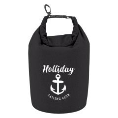black personalized dry bag with clip and clip to close bag
