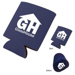 navy koozie can cooler with an imprint on the front, back, and bottom saying GH glass house