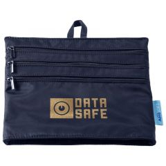 blue canvas zippered pouch with a main zippered compartment and an imprint saying Healthtrack Wellness Program