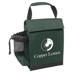 green lunch bag with mesh pocket