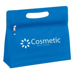 blue cosmetic bag with handle, zippered main compartment, and an imprint saying cosmetic beauty school