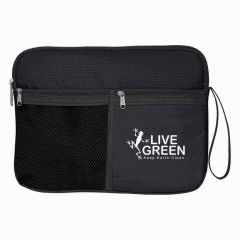 black multi-storage toiletry bag with side strap and multiple compartments