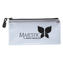 personalized clear carrying pouch with zippered main compartment