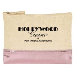 personalized cosmetic bag with metallic bottom and zippered main compartment