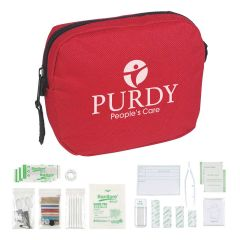 personalized red first aid kit with main zippered compartment and included supplies