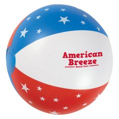 personalized American flag beach ball with imprint on front